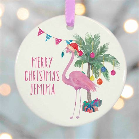 flamingo christmas tree decorations  christening gifts