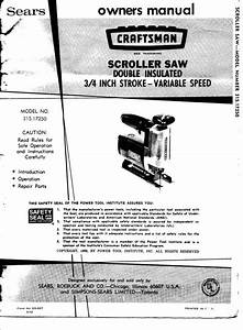 1972 Craftsman 315 17250 Owners Manual 3  4 Inch Stroke