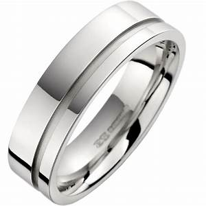 plain wedding band for men in 18ct white gold with a With mens 18ct gold wedding rings