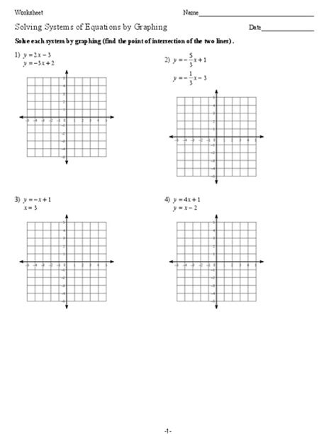 Solving Systems Of Linear Equations Worksheet  Solving Systems Of Linear Equations By