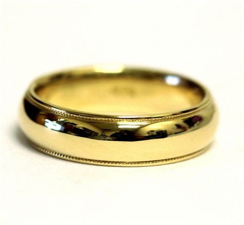 yellow gold mens gents milgrain wedding band ring mm