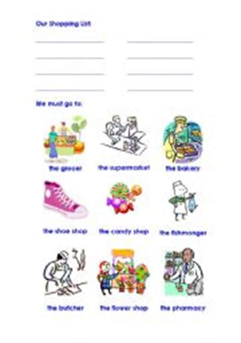 english worksheets shopping list