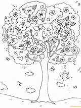 Coloring Spring Pages Tree Blossoming Outdoor Printable Nice Activities Children Colouring Trees Sheets Flower Blossom Cherry Coloringpagesonly Adults Seasons Rainbow sketch template