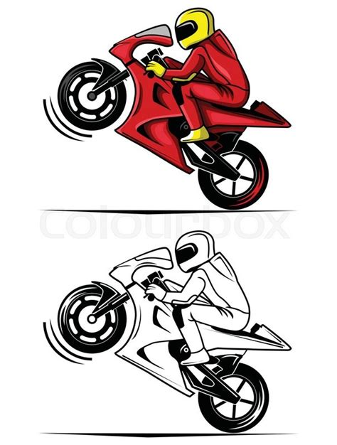 coloring book moto race cartoon character stock vector