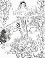 Merman Coloring Designlooter Digi Stamp Instant Fantasy Printable Adult Pdf sketch template