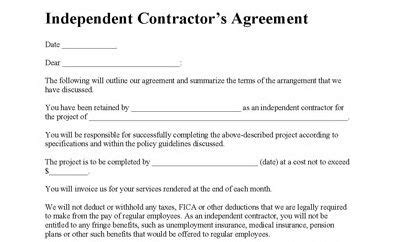 independent contractor agreement contractor agreement