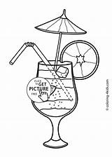 Summer Coloring Pages Printable Food Colouring Cocktail Drawing Seasons Season Drinks Adult Sheets 4kids Cocktails Printables Books Drawings Easy Getdrawings sketch template
