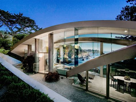 butterfly shaped concrete glass steel house