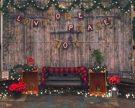 backdrop stage christmas rustic decorations booth backdrops holiday