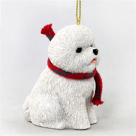 bichon frise dog christmas ornament scarf figurine