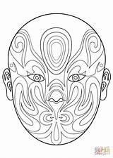 Mask Opera Coloring Chinese Printable Drawing Lizard Phantom Masks Supercoloring Paper sketch template