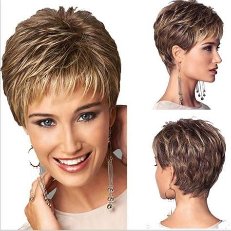 Coupe Cheveux Femme Court Femme Coupe De Cheveux Courte Ligne Droite Perruque De Cheveux Synth 233 Tiques Faux Perruque
