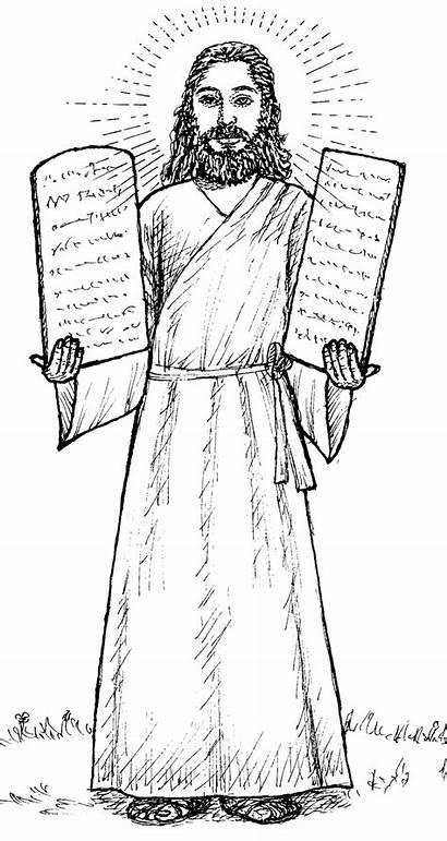 Moses Coloring Pages Bible Printable Commandment Sinai
