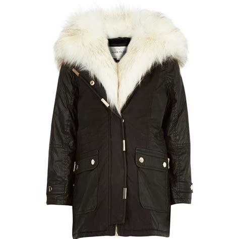 black parka coat river island black faux fur trim parka coat in black