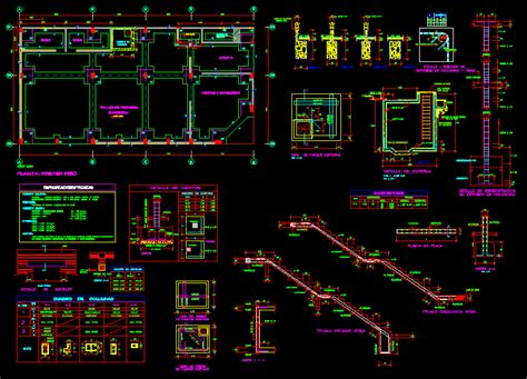 foundations staircase beams dwg block  autocad