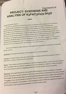 Solved  Experiment 26 Project  Synthesis And Analysis Of K