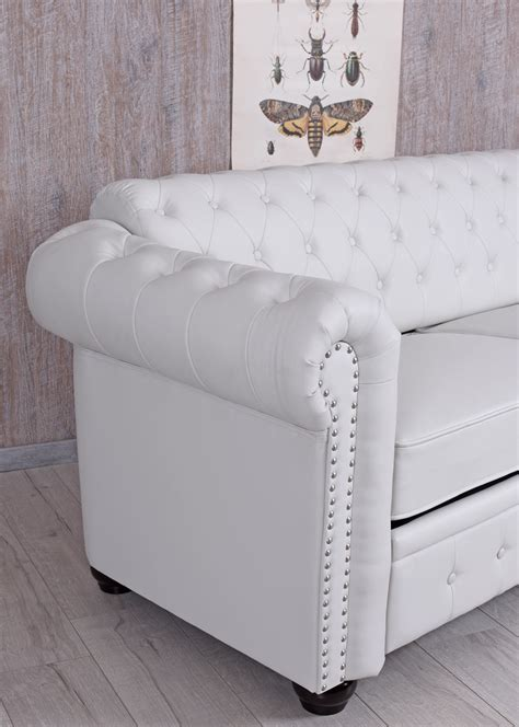 chesterfield sofa weiss chesterfield sofa weiss clubsofa eco leder englisches sofa sitzbank 200cm ebay