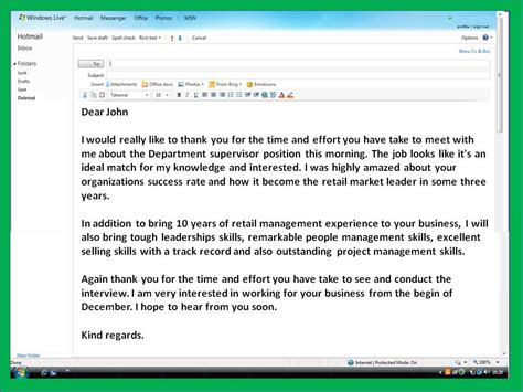 sample email   letter  interview levelings
