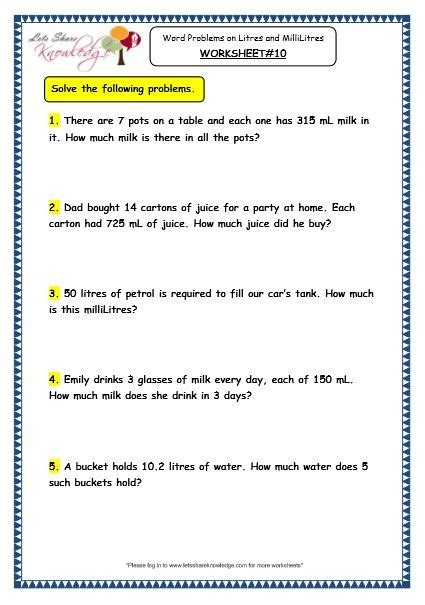 grade  maths worksheets  measurement  capacity