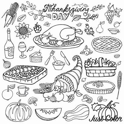 Thanksgiving Coloring Turkey Cornucopia Pages Adults Icons