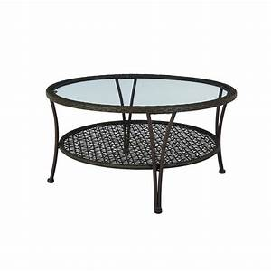 hampton bay arthur all weather wicker patio coffee table With patio chairs and coffee table