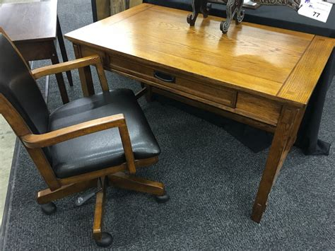 Oak Inlayed Writing Desk With Matching Black Leather And