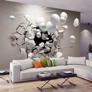 papier peint 3d creant un effet abstrait et trompe loeil With idee deco papier peint