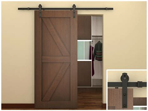 Closet Door Glides by 6 Ft Coffee Antique Style Steel Sliding Barn Wood