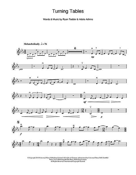 turning tables sheet music turning tables sheet music by adele violin 114358