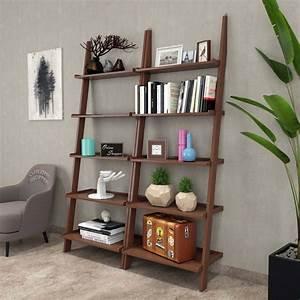 Onlineshoppee, Leaning, Bookcase, Ladder, And, Room, Organizer, Engineered, Wood, Wall, Shelf