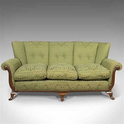 Green Settee by Antique Sofa Green Edwardian 3 Seater Settee C