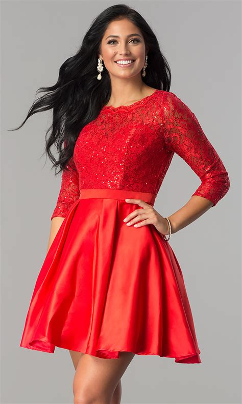 Short 3/4 Sleeve Homecoming Dress