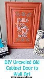 diy old cabinet door upcycle to family room wall art plus With kitchen cabinets lowes with family vinyl wall art