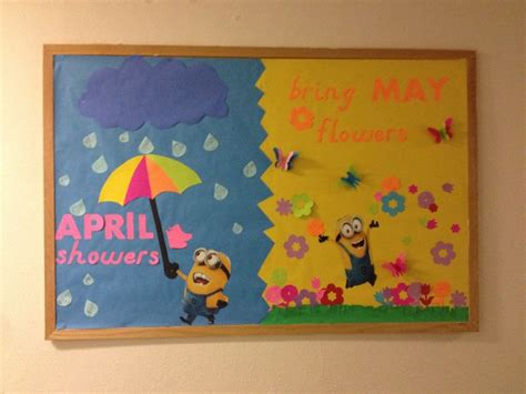 april showers bring may flowers bulletin board ideas ra ideas april minion bulletin board april showers bring