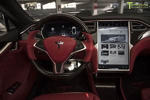 tesla model s bently hot spur red leather interior with contrast white stitching   Tesla ...