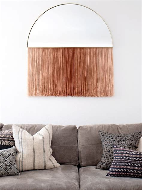 With over 20 bathroom wall decor ideas, our collection offers you fresh ideas for this essential room. DIY: Half-Circle Mirror with Fringe Wall Hanging | Diy mirror decor, Decor, Diy mirror