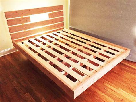 floating bed frame diy beds plans platform hanging build frames steps king simple cama queen howtospecialist pallet wood woodworking step