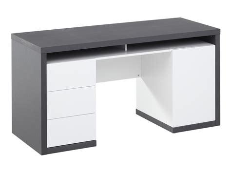 bureau et blanc bureau igor iii 3 tiroirs 1 porte 1 niche blanc gris