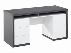 Bureau Avec Rangement : bureau igor 3 tiroirs 1 porte 1 niche blanc gris ~ Teatrodelosmanantiales.com Idées de Décoration