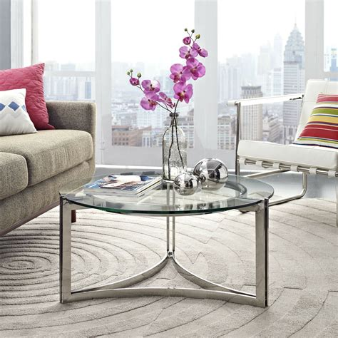 You will receive a total of 1 coffee table and 2 end tables. Modway Signet Modern Tempered Glass Stainless Steel Round Coffee Table In Silver 848387033781 | eBay
