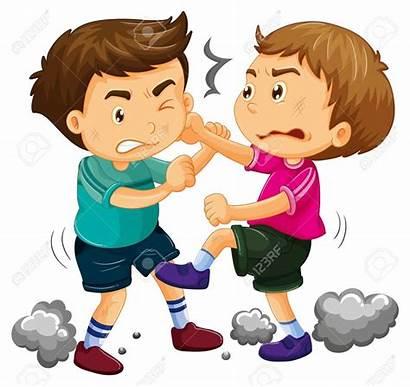 Fighting Clipart Boys Young Ninos Clip Boy