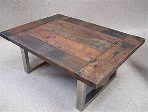Reclaimed timber coffee tables and coffee on pinterest for Wood top metal legs coffee table