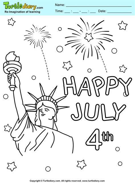fireworks   july printable coloring sheet turtle diary