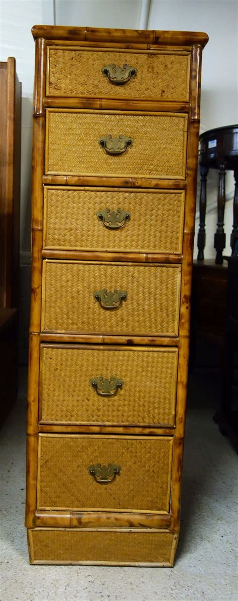 Pair victorian mahogany batchelors chests chest drawers. Druce & Co Ltd Tall & Narrow Bamboo Rattan Chest Of ...
