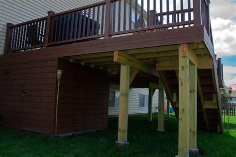 deck storage shed trex 174 deck with deck storage shed lake rock 6533