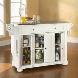 stainless steel kitchen island crosley alexandria stainless steel top kitchen island in white kf30002awh