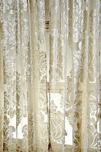 Sheer White Damask Curtains