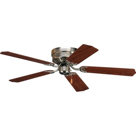 Home Depot Flush Mount Ceiling Fan by Shop Progress Lighting Airpro Hugger 52 In Brushed Nickel