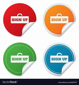 Sign up sign icon registration symbol vector art ...
