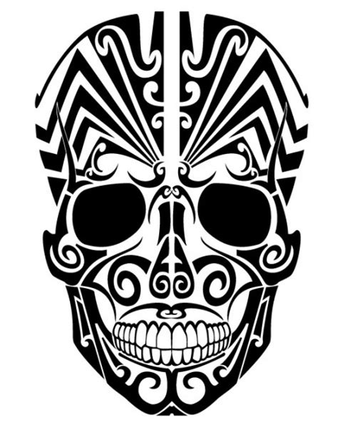 tribal skull tattoo  frontal view vector
